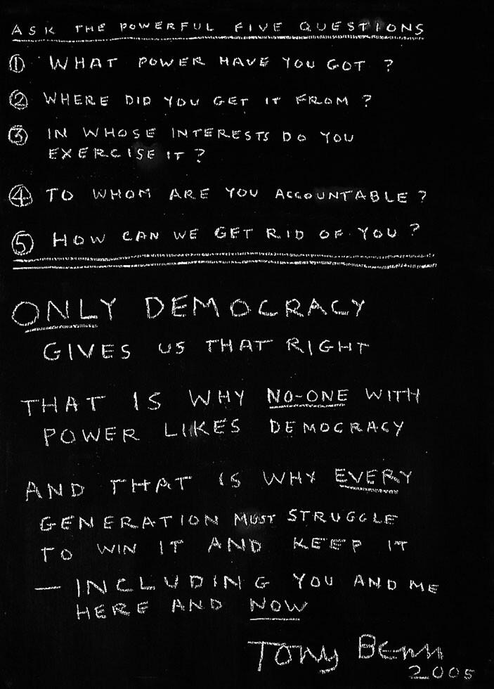 Ask the Powerful 5 Questions: Tony Benn